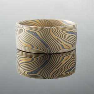 Modern Mokume Gane Wedding Ring or Band in Echo Pattern and 22k Yellow Gold