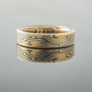 mokume gane mixed metal two tone two-toned artisan crafted nature inspired handcrafted organic contemporary modern earthy topographical multicolor metal yellow gold white gold oxidized sterling silver pattern tree rings