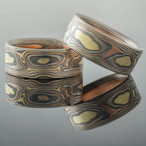 Crafted Mokume Gane Wedding Bands or Ring Set in Firestorm Palette and Woodgrain Pattern