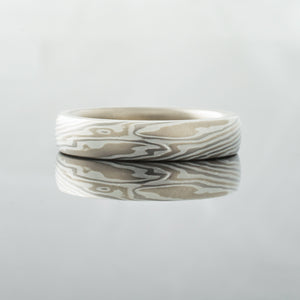 Mokume Gane Ring or Wedding Band in Smoke Pattern and Twist with added White Gold Liner