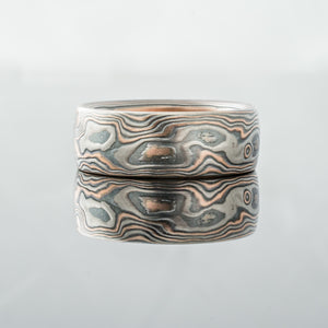 Mokume Ring or Band. Red gold, palladium and silver