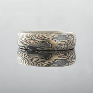 Swirled Mokume Gane Ring Wedding Band. Yellow gold, palladium and silver