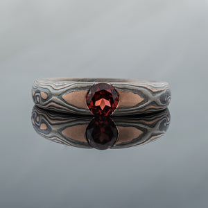 Mokume Gane Ring or Engagement Ring in Embers Palette w/ Garnet