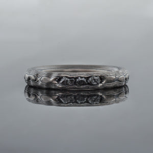 Canyon Mokume Gane Guri Bori Ring Wedding Band in Ash Palette w/ Channel Set Black Diamonds