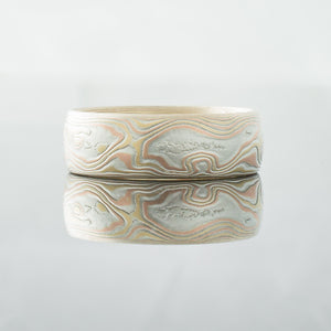 Mokume Gane Ring Wedding Band. Rustic and modern in yellow gold, palladium and silver