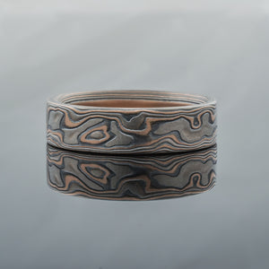Mokume Gane Ring or Wedding Band in Woodgrain Pattern and Embers Palette