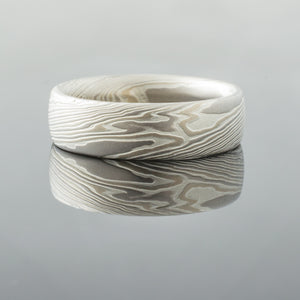 River Mokume Gane Wedding Band or Ring in Smoke Palette and Twist Pattern