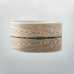 Rustic Mokume Gane Ring Wedding Band. Nature inspired in gold and silver