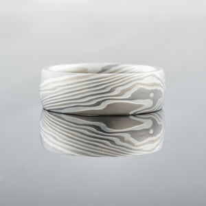 Mokume Gane Ring or Wedding Band Set in Smoke Palette and Twist Pattern