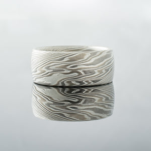 Mokume Gane Ring or Wedding Band in Smoke Paletted and Etched Twist