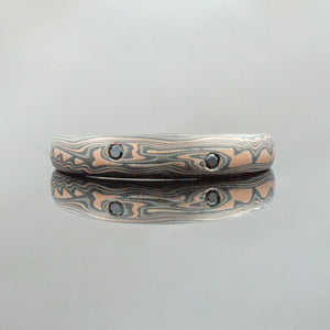 Mokume Gane Ring or Wedding Band in Embers Palette w/ Flush Set Black Diamonds