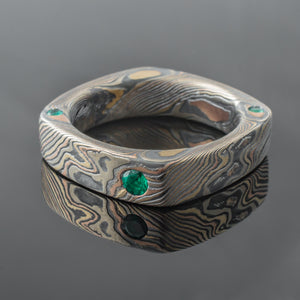 Mokume Gane Ring Mens Wedding Band emerald emeralds square mixed metal two tone two-toned tricolor artisan crafted nature inspired handcrafted organic contemporary modern earthy topographical multicolor metal yellow gold white gold oxidized sterling silver pattern tree rings