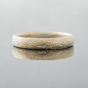 Mokume Gane Ring mens wedding bands Wedding Band yellow gold white gold palladium sterling silver artisan made handmade patterned topographical nature inspired mixed metal earthy organic style