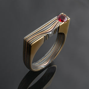 Mokume Gane Ring unique mens Wedding Band Modern design ring flush set ruby red stone award winning artisan made handmade tricolor mutlicolor mixed metal red yellow white rose gold mix layered square linear angled ring stylish sleek mens fashion fine jewelry