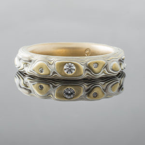Mokume Gane Ring Wedding Band with diamonds in gold and silver
