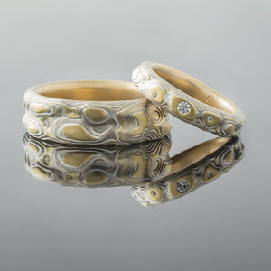 Romantic Mokume Gane Ring Wedding Ring Set. Diamonds with yellow gold, palladium and silver