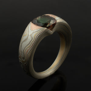 Mokume Gane Ring or Engagement Ring in Woodgrain Pattern w/ Cathedral Set Oregon Sunstone