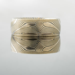 Mokume Gane Ring Wedding Band in Echo Pattern and Etched + Oxidized Spark Palette