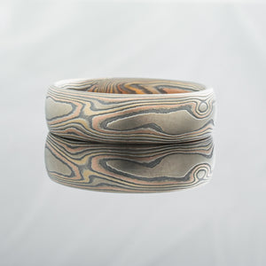 Mokume Gane Ring Wedding Band. Red gold, yellow gold, palladium and silver