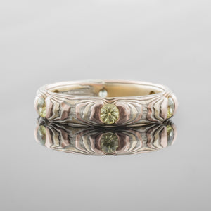 Mokume Gane Ring or Band in Guri Bori Pattern and Fire Metal Combination w/ Yellow Sapphires