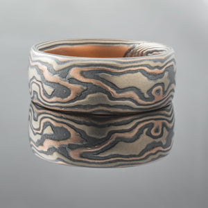 Custom made Mokume Gane Ring Wedding Band nature inspired in gold and silver
