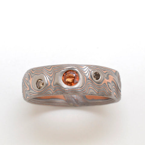 Guri Bori Mokume Gane Band in Red Gold, Palladium, and Sterling Silver with Diamond, Sapphire, and Quartz with Etched and Oxidized Finish