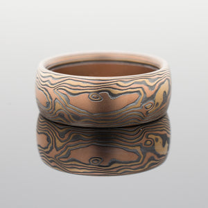 arn krebs mokume gane wedding jewelry ring in oxidized sterling silver, red gold and yellow gold