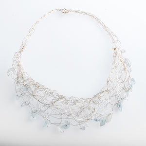 Spun Bib Necklace with Blue Topaz