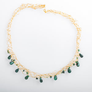 Spun Necklace with Jade briolettes