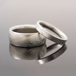 arn krebs mokume gane wedding ring set in sterling silver and gold