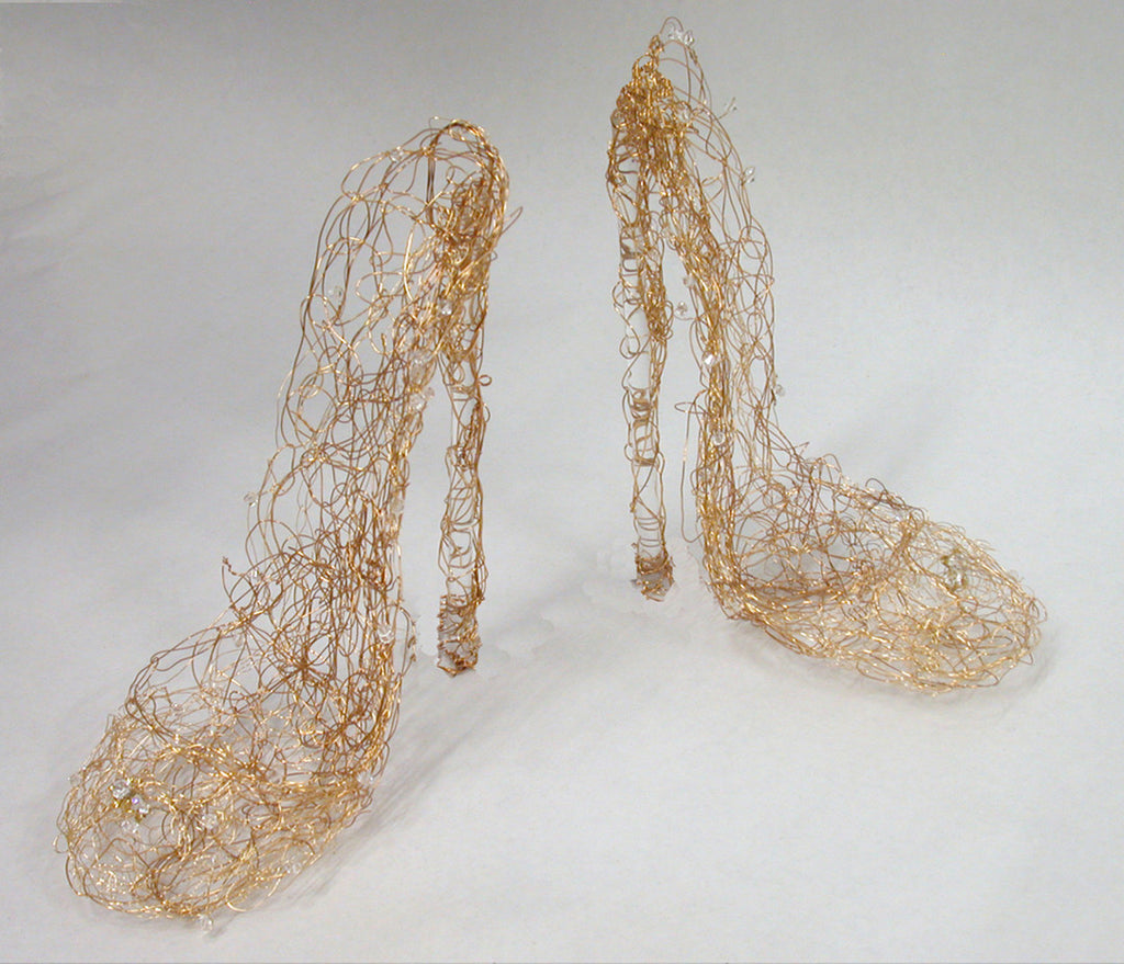 wire shoes, wire shoe sculpture, shoe sculpture,