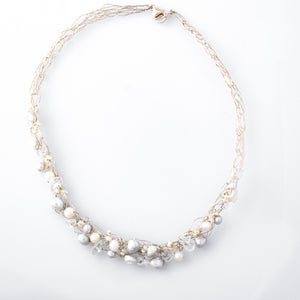 Spun Necklace with Gray and Ivory Freshwater Pearls