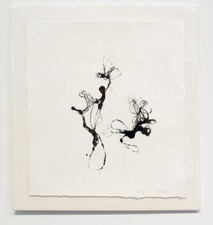 Black ink pressed wire embossed printed collograph of abstract shapes one large one smaller on white paper