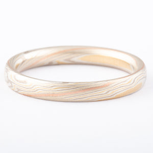 Contemporary Mokume Gane Ring or Wedding Band in Flare Palette with Red Gold Stratum SHIPS TODAY