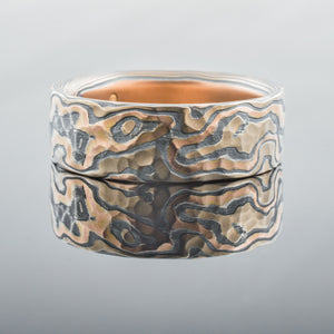 Artisan Mokume Gane Ring or Wedding Band in Embers Palette and Woodgrain Pattern with Hammered Finish