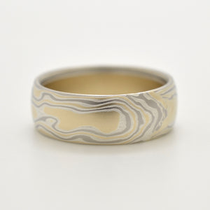 mokume gane mens wedding band in silver, yellow and white gold