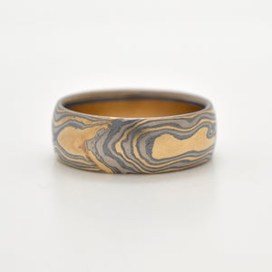 mokume gane wedding band mens jewelry in oxidized silver, yellow gold and white gold
