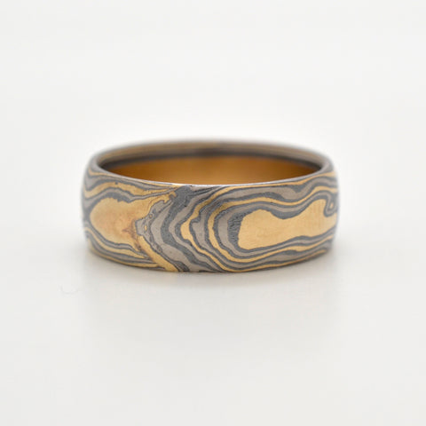 Mokume Woodgrain Band in Oxidized Flare
