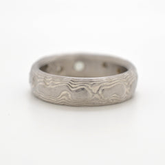 Mokume Guri Bori Ring in Ash with Sapphire and Diamonds