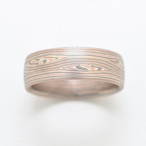 arn krebs mokume gane ring wedding band in red gold, white gold and silver.