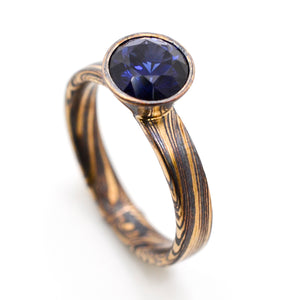 arn krebs mokume gane jewelry wedding engagement ring sapphire in gold and oxidized silver