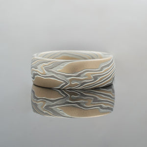 Mokume Gane Ring or Wedding Band in Bold Twist Pattern in Flare Palette