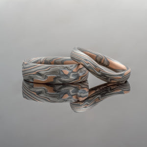 Mokume Gane Ring or Wedding Band Set in Oxidized Embers Palette and Twist Pattern