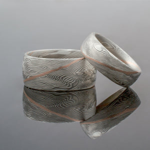 Mokume Gane Matched Wedding Bands or Rings in Woodgrain Pattern and Ash Palette w/ 14k Red Gold Center Stratum