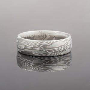 Mokume Gane Ring or Wedding Band in Twist Pattern and Ash Palette w/ Satin Finish