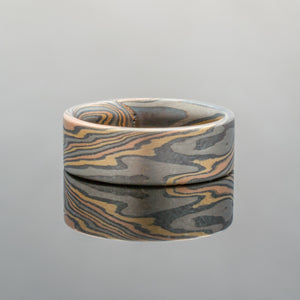 Mokume Gane Ring or Wedding Band in Twist Pattern and Firestorm Palette