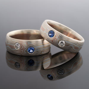 Mokume Gane Rings Matched Wedding Bands Woodgrain Pattern Fire Palette with Sapphire & Diamond