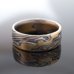 Mokume Gane Ring Wedding Band Twist Pattern in Oxidized Firestorm