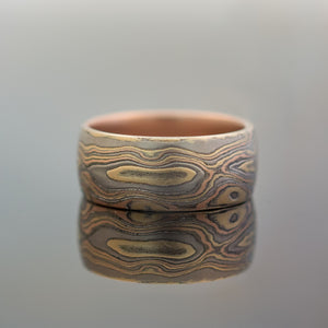 Mokume Gane Ring or Wedding Band in Woodgrain Pattern and Oxidized Firestorm Palette w/ Red Gold Liner