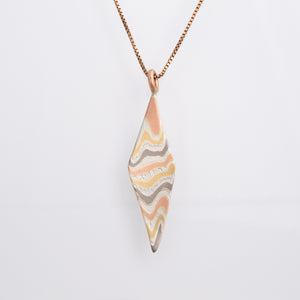 Mokume Gane Pendant Twisted Kite Incline Pattern Firestorm Palette